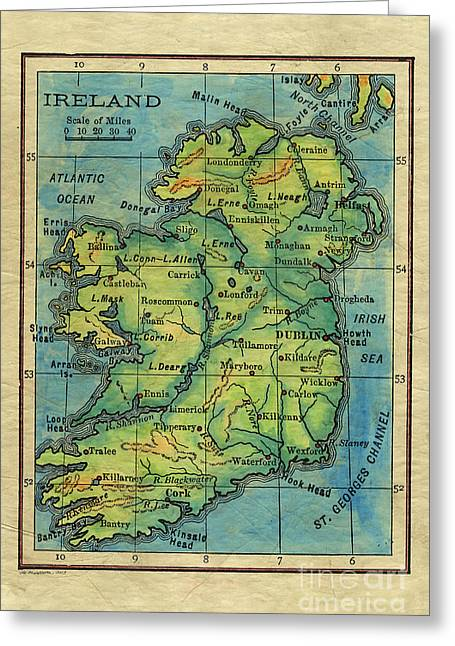 Map Of The Hand Greeting Cards - Ireland 1906 Greeting Card by Lisa Middleton