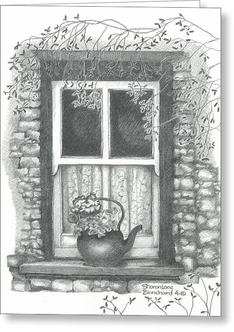 Stone House Drawings Greeting Cards - Ireland Cottage Window Greeting Card by Sharon Blanchard