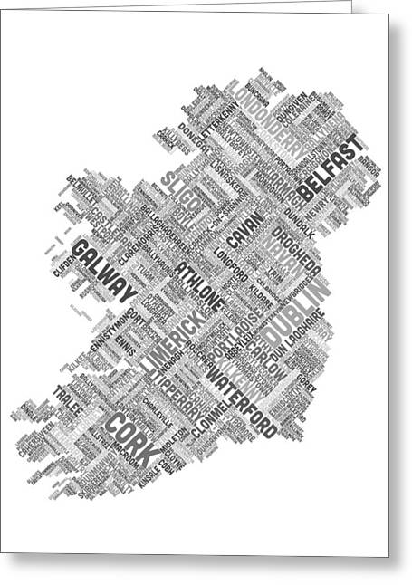 Ireland Greeting Cards - Ireland Eire City Text map Greeting Card by Michael Tompsett
