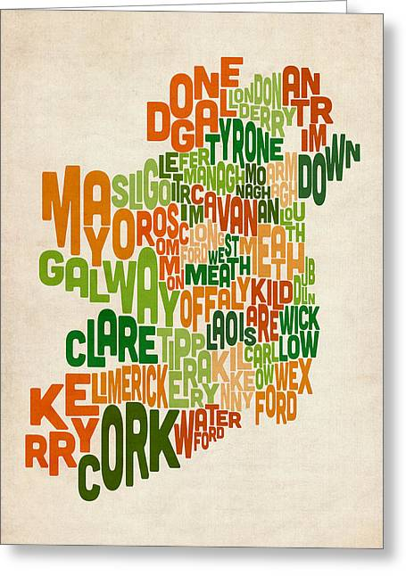Ireland Greeting Cards - Ireland Eire County Text Map Greeting Card by Michael Tompsett