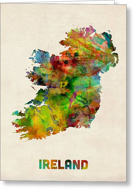 Ireland Greeting Cards - Ireland Eire Watercolor Map Greeting Card by Michael Tompsett