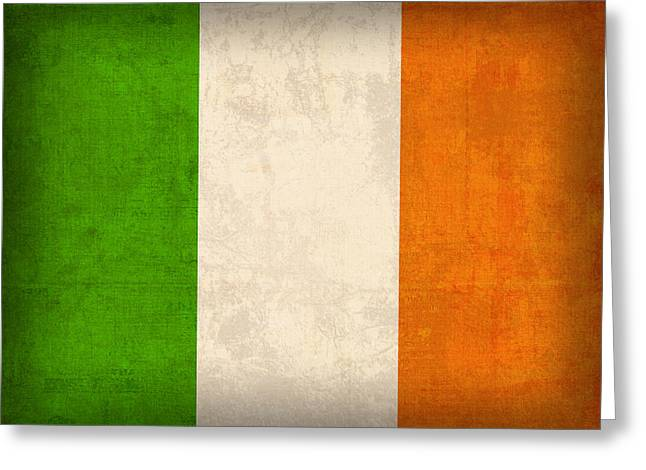 Ireland Flag Vintage Distressed Finish Greeting Card by Design Turnpike
