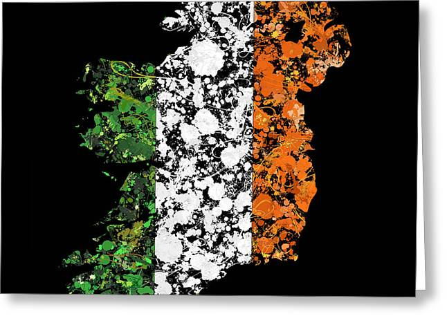 Cartography Greeting Cards - Ireland Map Flag Greeting Card by Marion De Lauzun