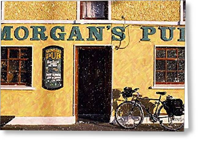 Ireland Pastels Greeting Cards - Ireland Morgans Pub  Greeting Card by Olde Time  Mercantile