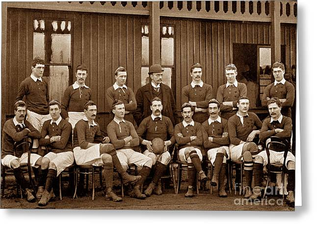 Recently Sold -  - Victorian Greeting Cards - The Irish National Rugby Team in 1895 Ireland Greeting Card by The Keasbury-Gordon Photograph Archive
