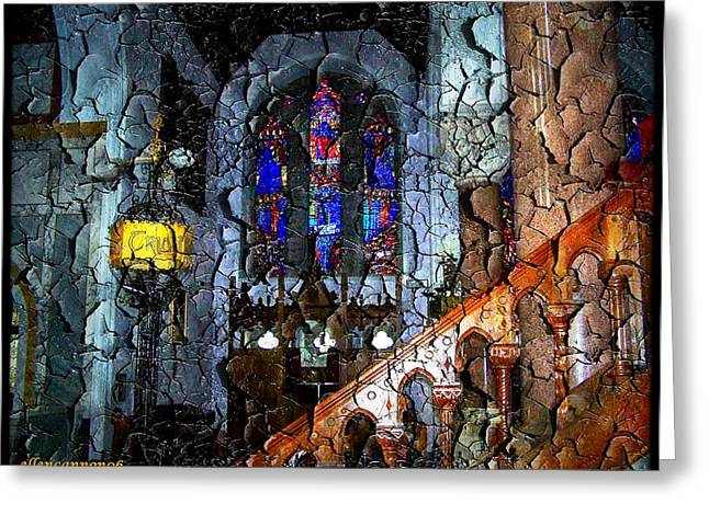 Stained Glass Ireland Greeting Cards - Ireland St. Brendans Cathedral Bannister Greeting Card by Ellen Cannon