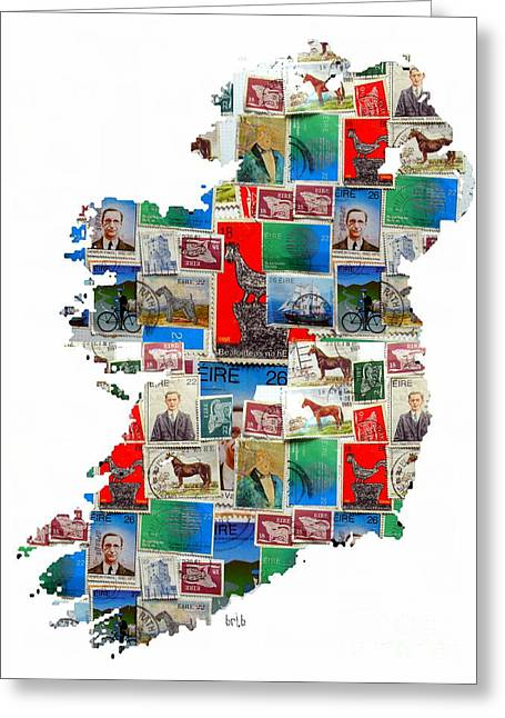 Fine Mixed Media Greeting Cards - Ireland Stamp Map Greeting Card by Bri Buckley