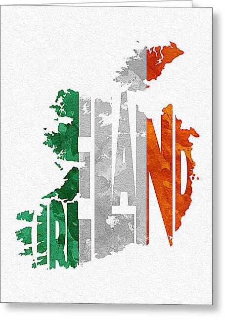 Abstract Map Greeting Cards - Ireland Typographic Map Flag Greeting Card by Ayse Deniz