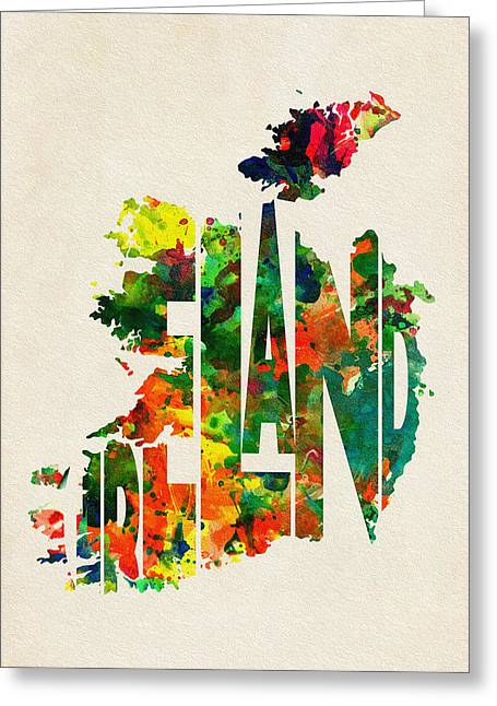 Abstract Map Greeting Cards - Ireland Typographic Watercolor Map Greeting Card by Ayse Deniz