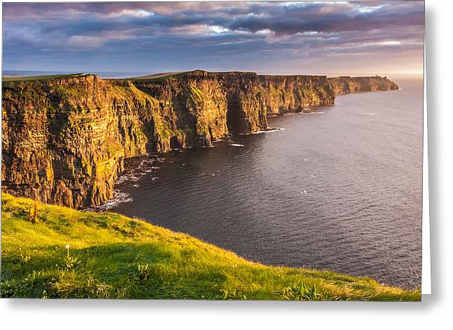 Ocean Shore Greeting Cards - Irelands Iconic landmark The Cliffs of Moher Greeting Card by Pierre Leclerc Photography
