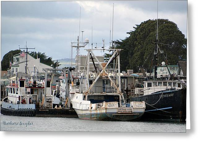 Working Boats Greeting Cards - Irenes Way Morro Bay Detail Greeting Card by Barbara Snyder