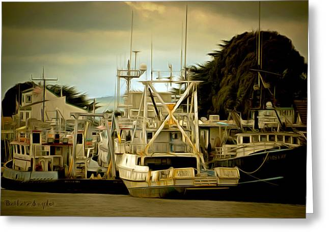 Working Boats Greeting Cards - Irenes Way Morro Bay Digital Greeting Card by Barbara Snyder