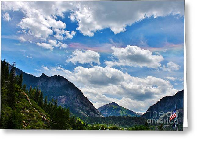 Iridescent Clouds Above Ouray Colorado Greeting Card by Janice Rae Pariza