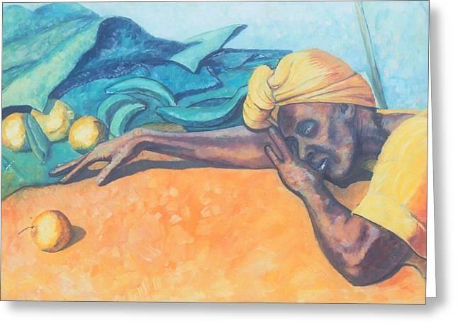 Blackart Greeting Cards - Irie Jamaica Market Spirit  Greeting Card by John Powell