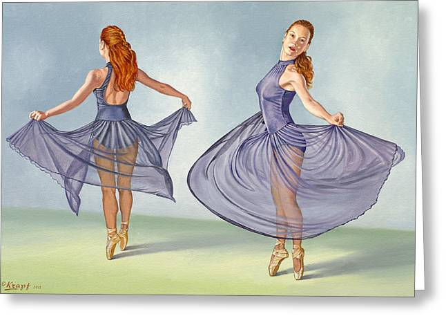 Skirts Greeting Cards - Irina Dancing in Sheer Skirt Greeting Card by Paul Krapf