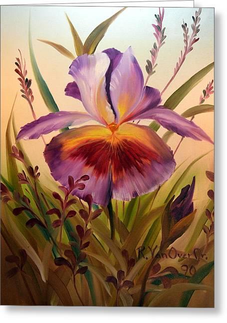 Iris Pastels Greeting Cards - Iris #12 Greeting Card by Royce Van Over