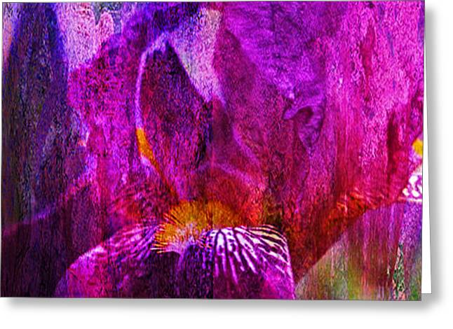 Iris Abstract Greeting Card by J Larry Walker