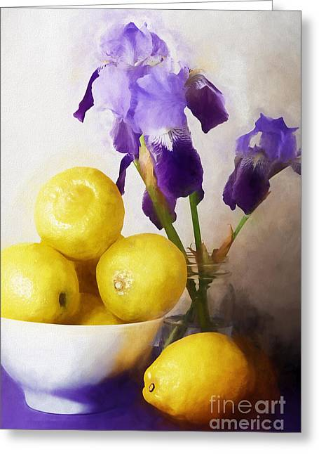 Purple. Colorful Greeting Cards - Iris and Lemons Greeting Card by HD Connelly