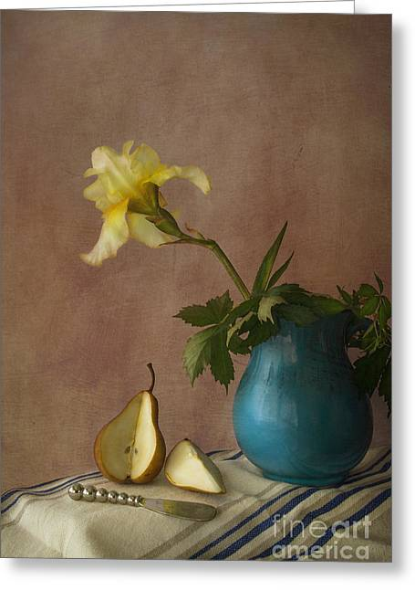Cloth Greeting Cards - Iris and pear Greeting Card by Elena Nosyreva