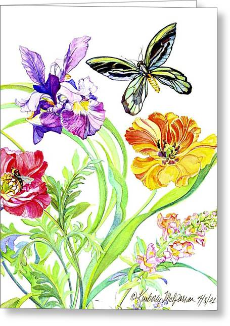 Flower Still Life Prints Greeting Cards - Iris and Queen Alexandra Butterfly Greeting Card by Kimberly McSparran