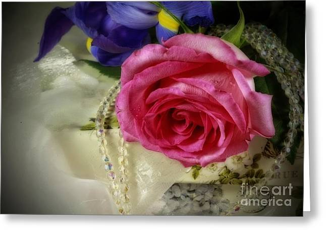Iris And Rose On Vintage Treasure Box Greeting Card by Inspired Nature Photography Fine Art Photography