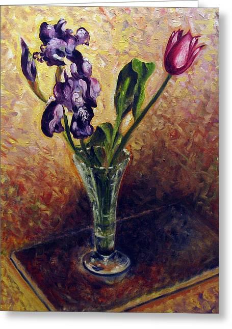 Flovers Greeting Cards - Iris and tulip Greeting Card by Vladimir Kezerashvili