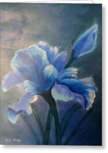 Kay Novy Greeting Cards - Iris Blue Greeting Card by Kay Novy