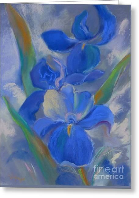 Iris Pastels Greeting Cards - Iris Blue Greeting Card by Nataya Crow