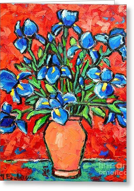 Interior Still Life Greeting Cards - Iris Bouquet Greeting Card by Ana Maria Edulescu