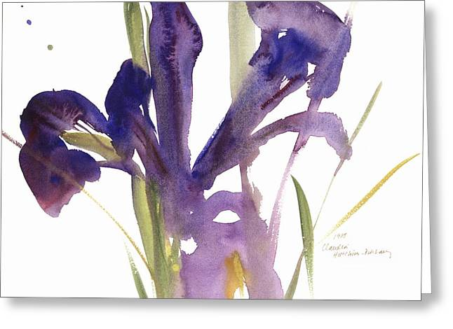 Florist Greeting Cards - Iris Greeting Card by Claudia Hutchins-Puechavy