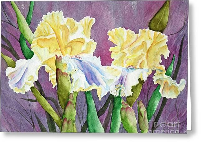 Iris Cream Duo Greeting Card by Kathryn Duncan
