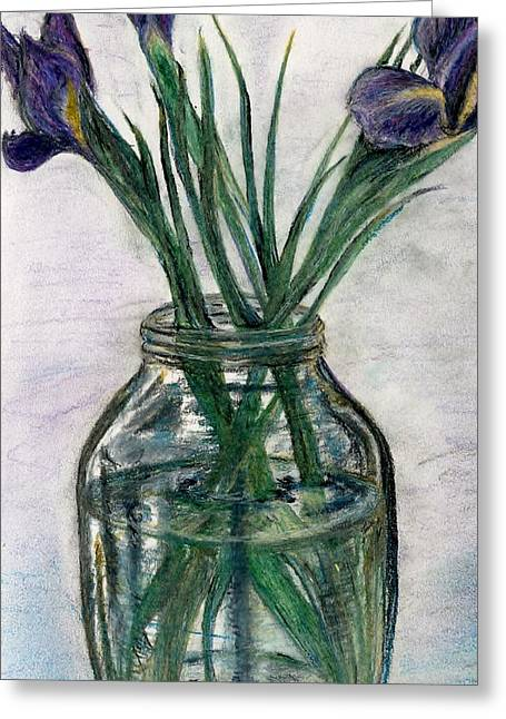 Iris Pastels Greeting Cards - Iris Greeting Card by E Carrington