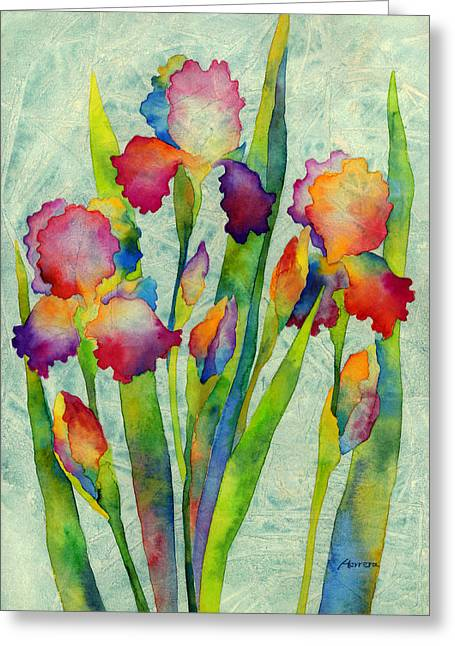 Violet Blue Greeting Cards - Iris Elegance on Green Greeting Card by Hailey E Herrera