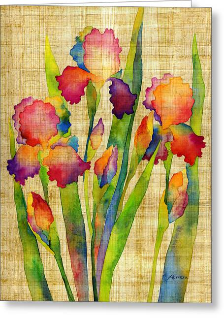Iris Elegance On Yellow Greeting Card by Hailey E Herrera
