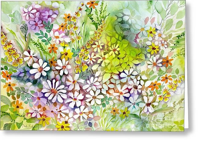Daisy Greeting Cards - Iris Fields Greeting Card by Neela Pushparaj