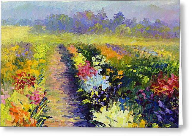 Terry Chacon Greeting Cards - Iris Fields Greeting Card by Terry  Chacon