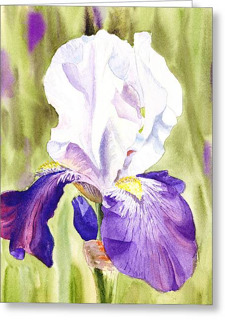 Landscape. Scenic Greeting Cards - Iris Flower Purple Dance Greeting Card by Irina Sztukowski