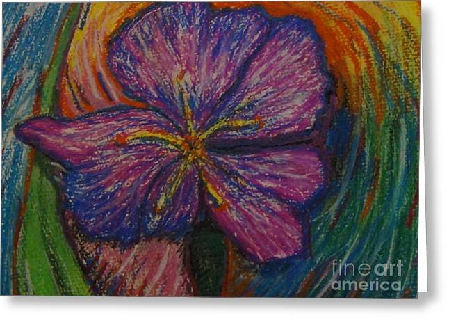 Iris Pastels Greeting Cards - Iris flower to be viewed with Red/Blue cyan 3D movie glasses Greeting Card by Connie Holman