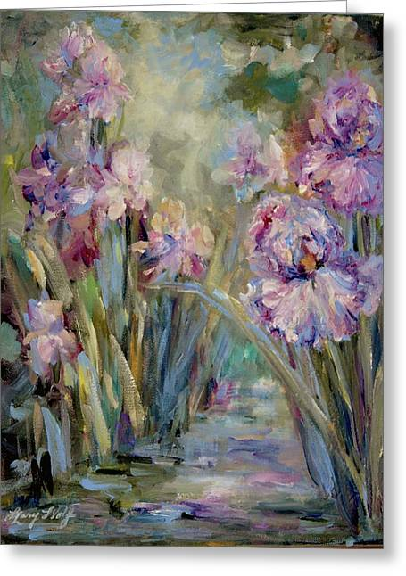 Iris Garden Greeting Card by Mary Wolf