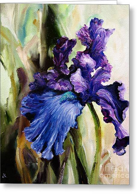 Diane Kraudelt Greeting Cards - Iris In Bloom 2 Greeting Card by Diane Kraudelt