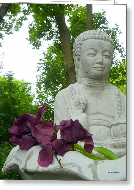 Stones Greeting Cards - Iris on the Buddha Fountain Greeting Card by Lingfai Leung