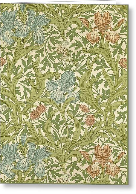 Foliage Tapestries - Textiles Greeting Cards - Iris Pattern Greeting Card by William Morris