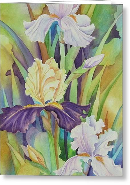 Iris Serenade Greeting Card by Deborah Ronglien