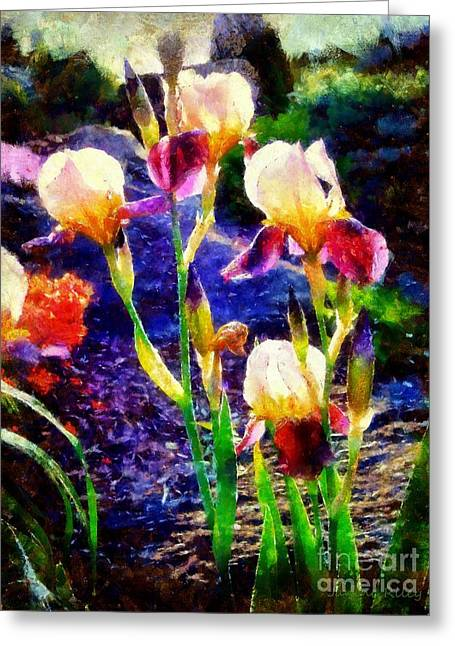 Perrenials Greeting Cards - Iris Song Greeting Card by Janine Riley