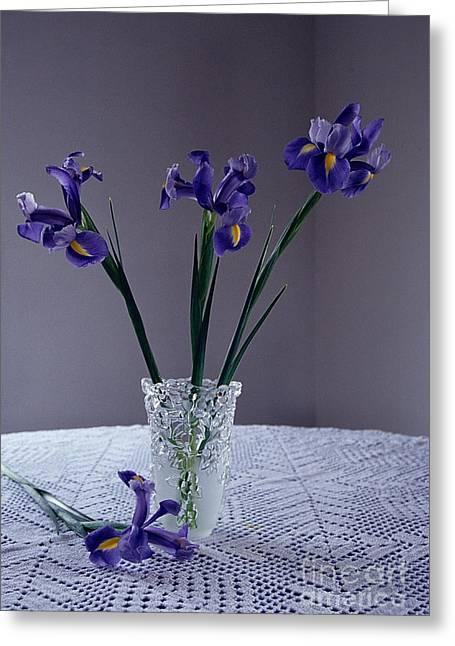Flower Still Life Prints Greeting Cards - Iris Stillife Greeting Card by Sharon Elliott