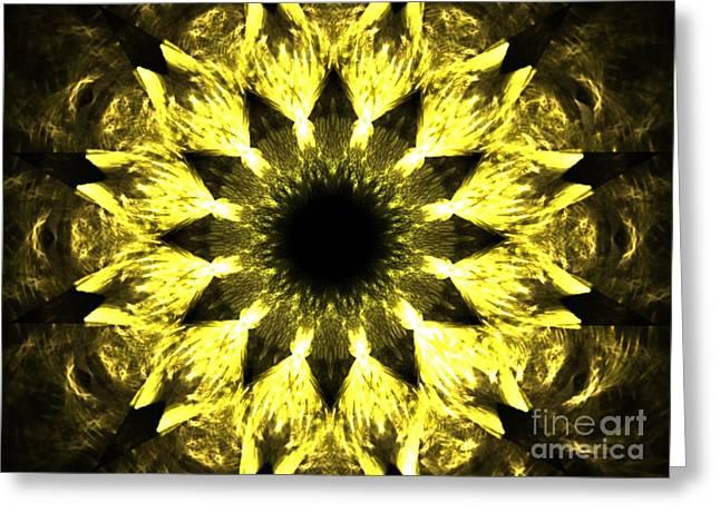Fractal Eclipse Greeting Cards - Iris Sun Greeting Card by Kim Sy Ok