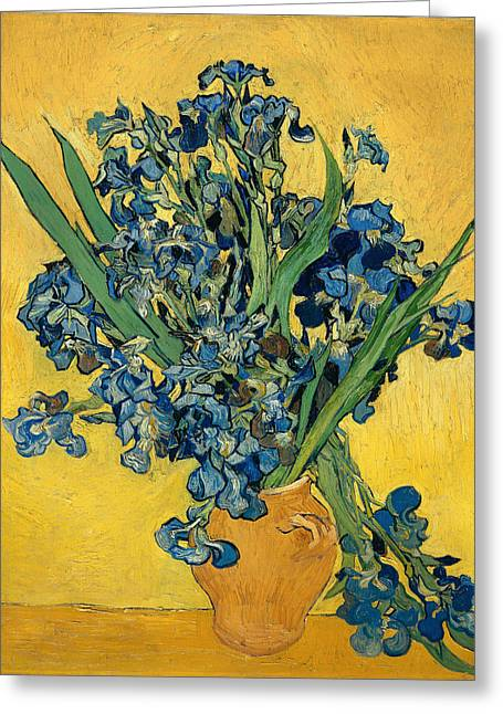 Interior Still Life Paintings Greeting Cards - Iris Greeting Card by Vincent van Gogh