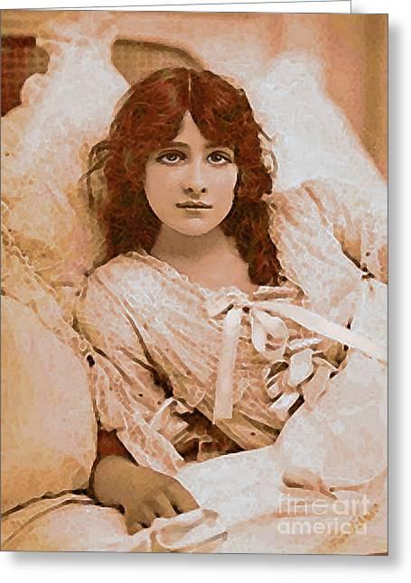 Sepia And Cream Greeting Cards - Iris Waking Greeting Card by Maureen Tillman