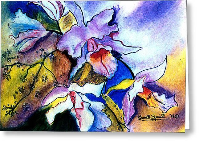 Wynton Marsalis Mixed Media Greeting Cards - Irises Greeting Card by Everett Spruill