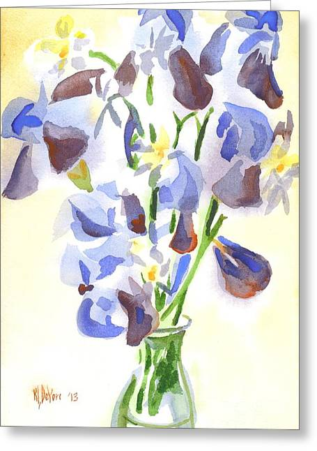 Indoor Still Life Paintings Greeting Cards - Irises Aglow Greeting Card by Kip DeVore